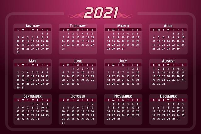 ปฏิทินปีใหม่ 2021 / 2564 แบบไฟล์เดียว ใช้ได้ตลอดทั้งปี